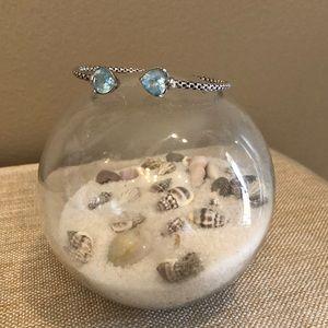 Jewelry - Sterling Silver, Blue Topaz flexible cuff bracelet